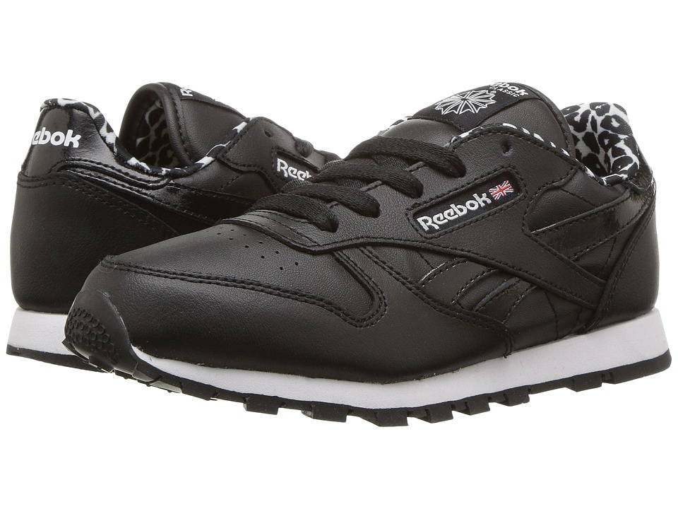 Reebok Kids - Classic Leather Animal (Little Kid) (Black/White/Poison Pink) Girl's Shoes