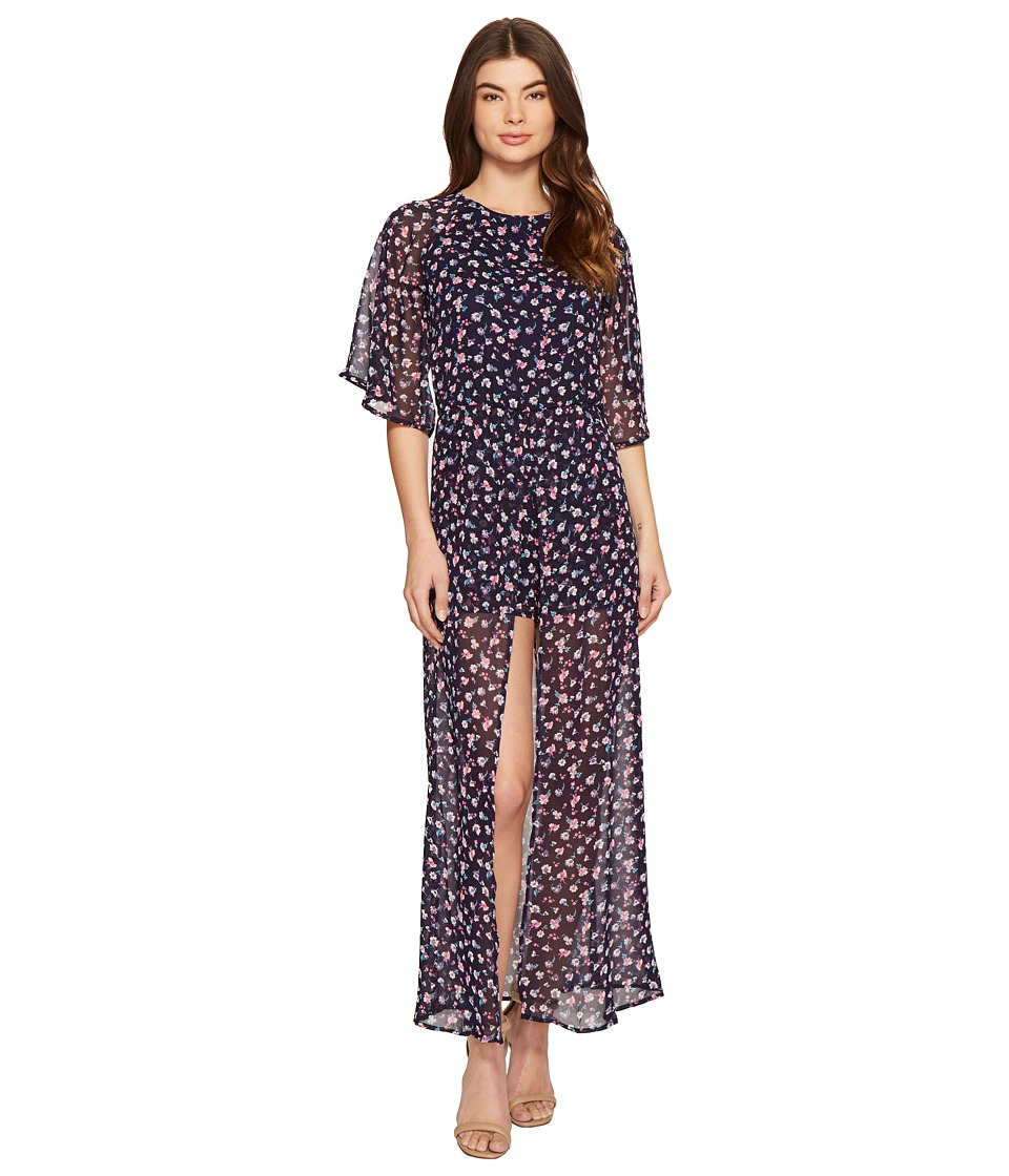 ROMEO & JULIET COUTURE - Ditsy Maxi Dress (Navy Floral) Women's Dress
