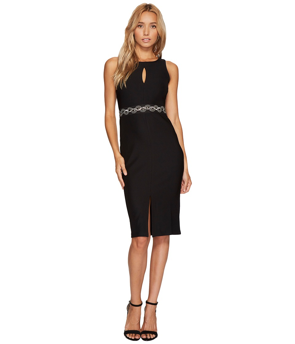 ROMEO & JULIET COUTURE Front Keyhole and Beaded Belt Dress (Black) Women
