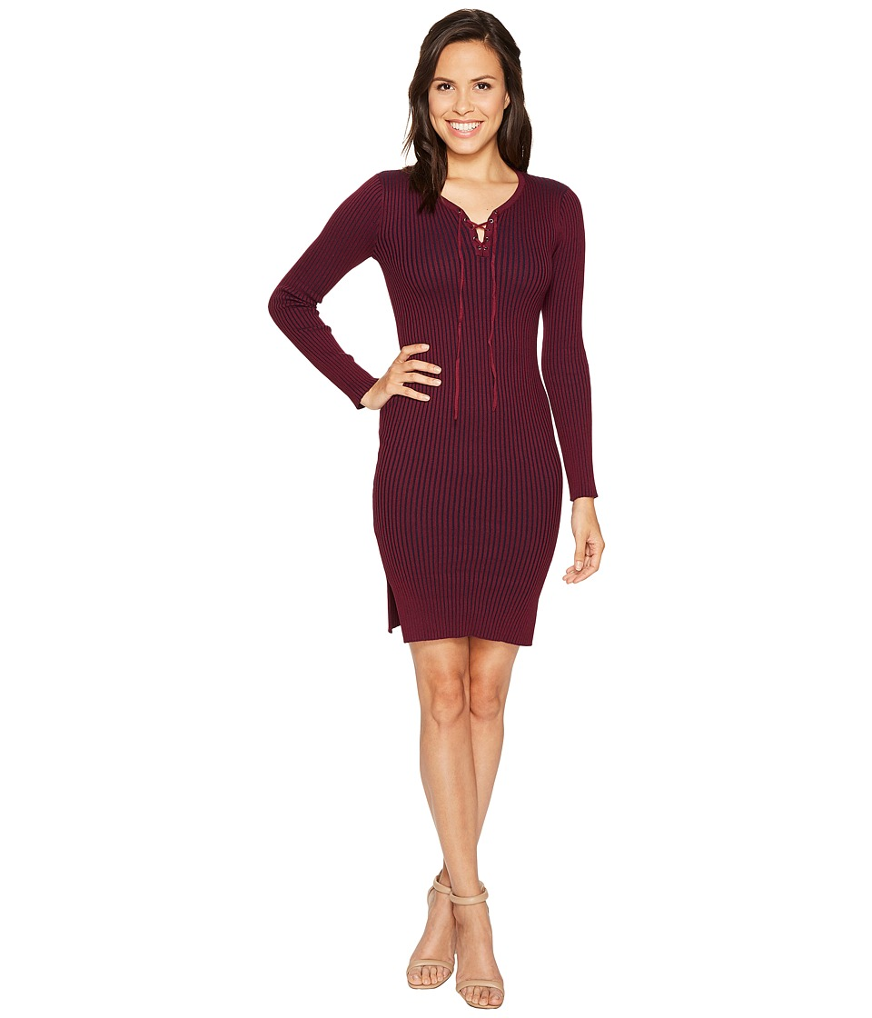 ROMEO & JULIET COUTURE - Ribbed Knit Midi Dress (Plum/Navy) Women's Dress