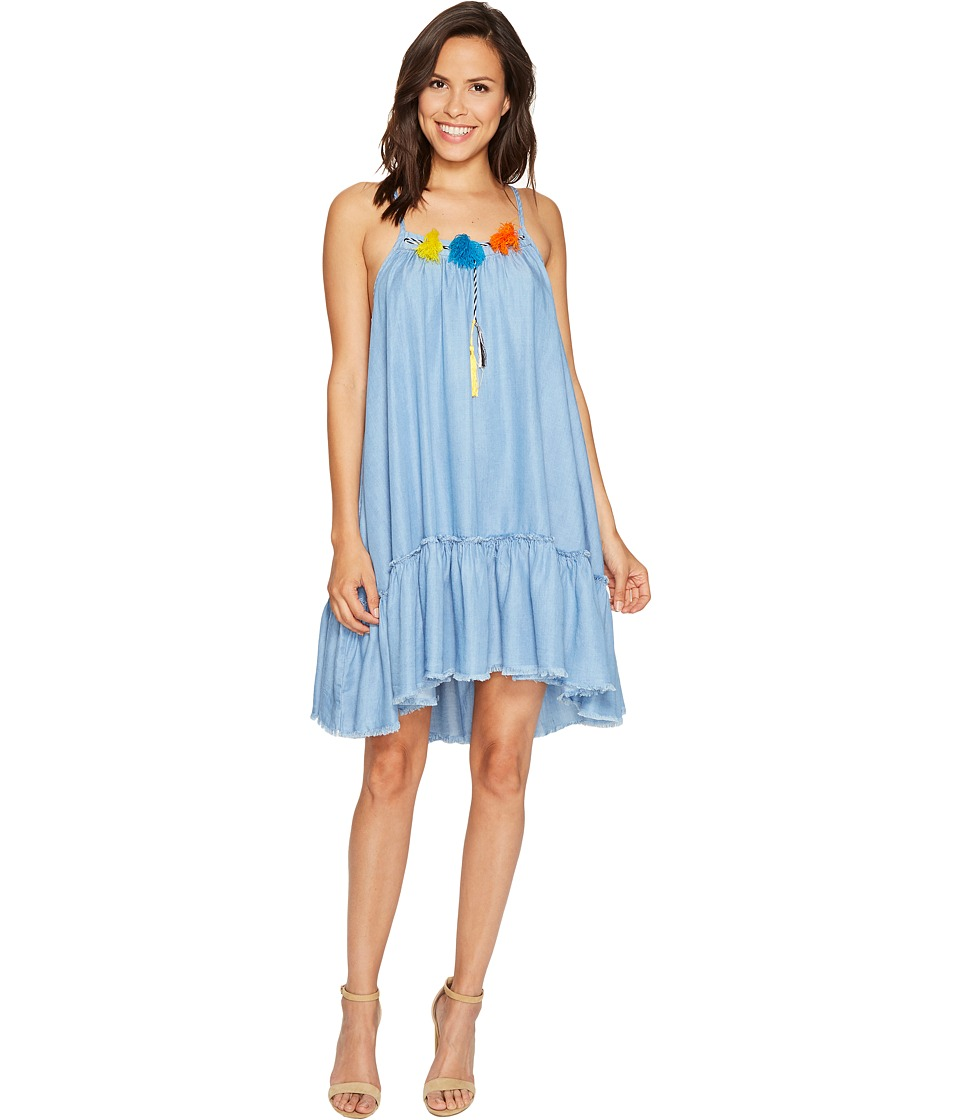 ROMEO & JULIET COUTURE - Chambray Tassle with Raw Hem Dress (Medium Blue) Women's Dress