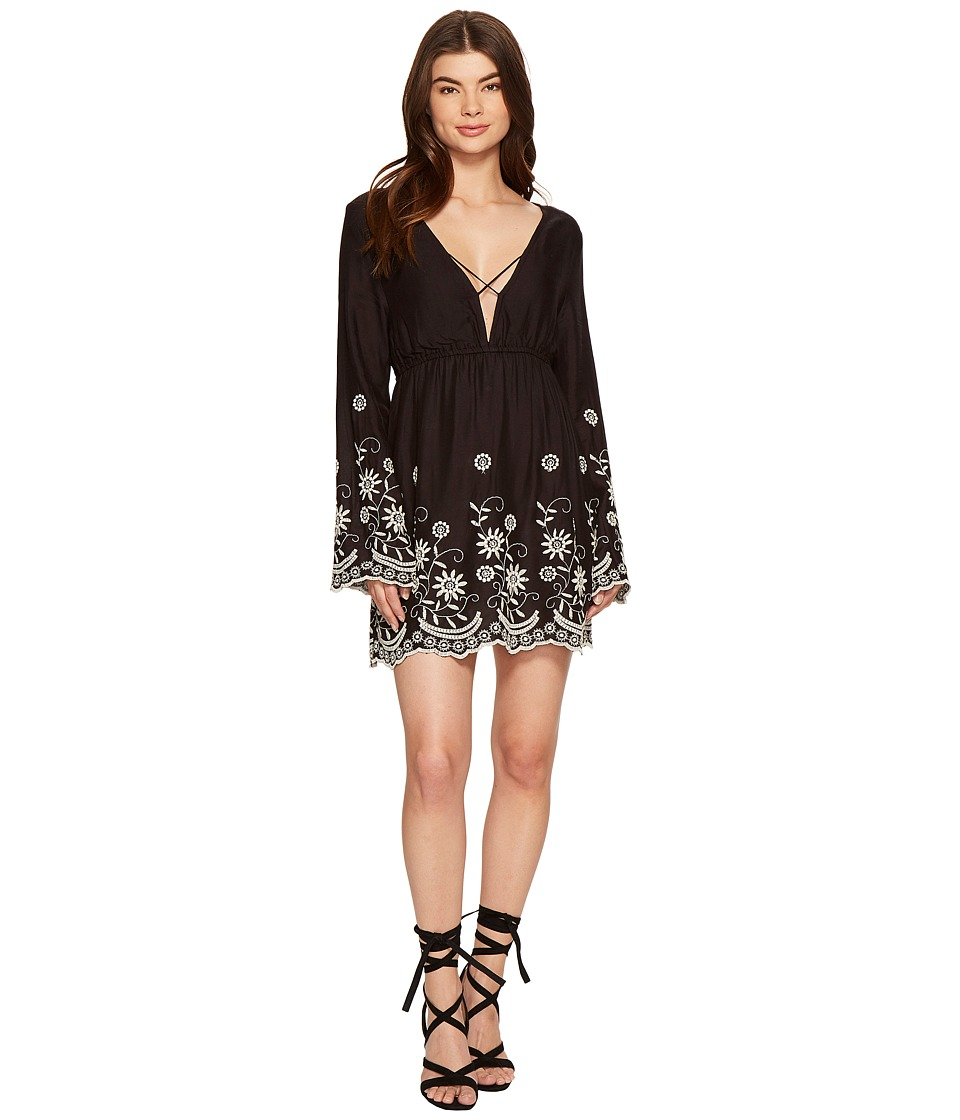 ROMEO & JULIET COUTURE - Embroidery Long Sleeve Dress (Black Multi) Women's Dress