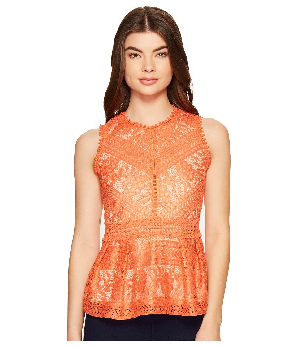 ROMEO & JULIET COUTURE - Lace Peplum Knit Top (Apricot Orange) Women's Clothing