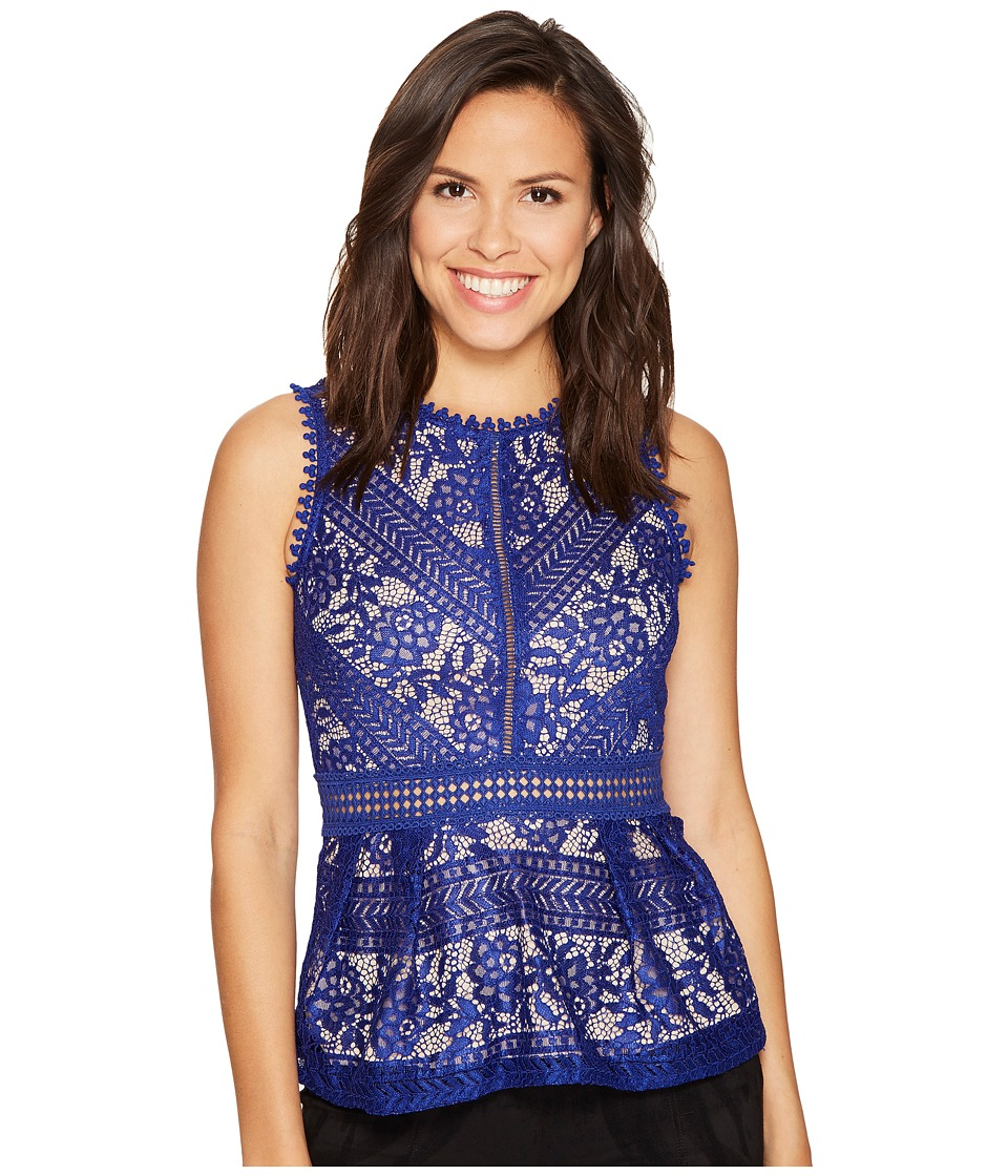 ROMEO & JULIET COUTURE - Lace Peplum Knit Top (Deep Blue) Women's Clothing