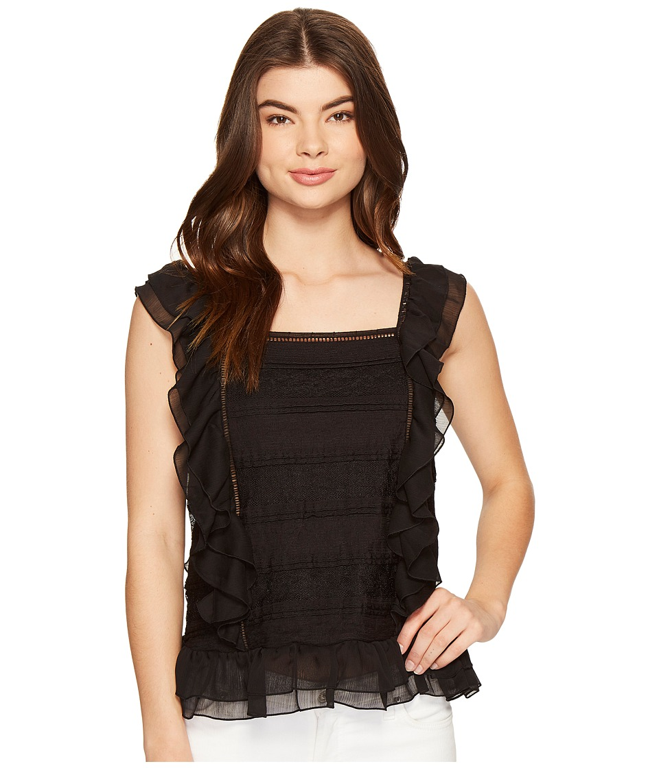 ROMEO & JULIET COUTURE - Sleeveless Lace Multi Layer Ruffle Top (Black) Women's Clothing