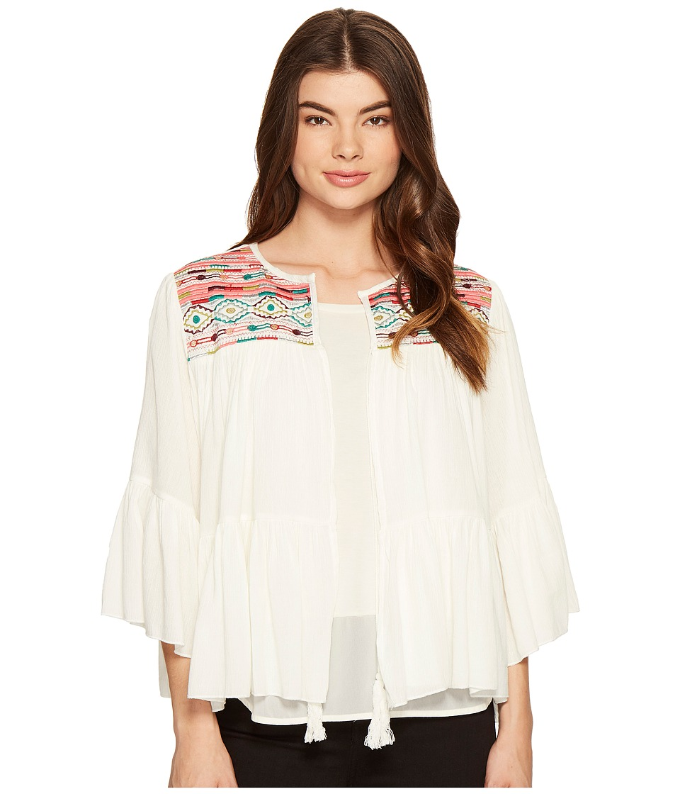 ROMEO & JULIET COUTURE - 3/4 Sleeve Aztec Embroidered Top (Ivory) Women's Clothing