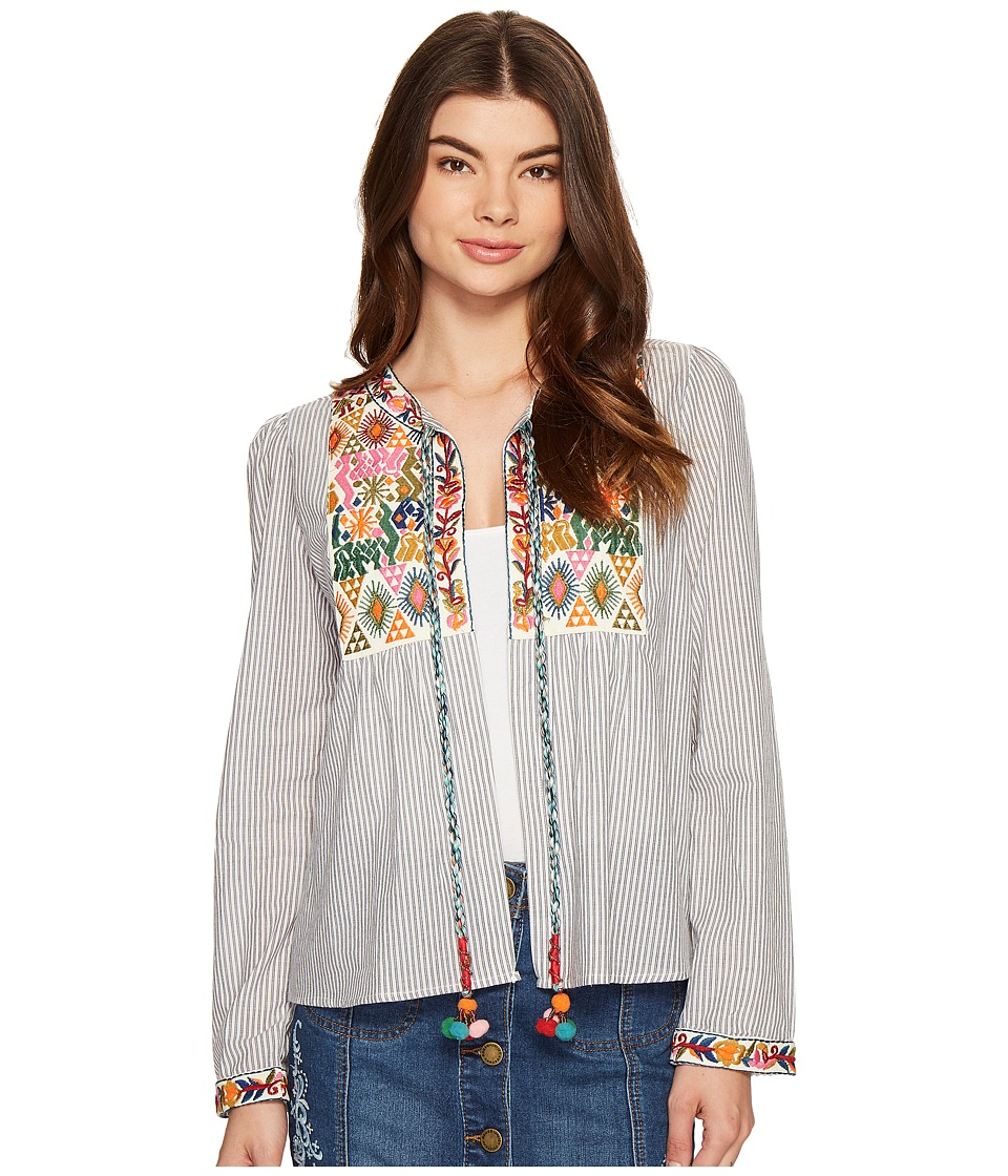 ROMEO & JULIET COUTURE - Embroidered Pompom Tie Up Open Top (Multi) Women's Clothing