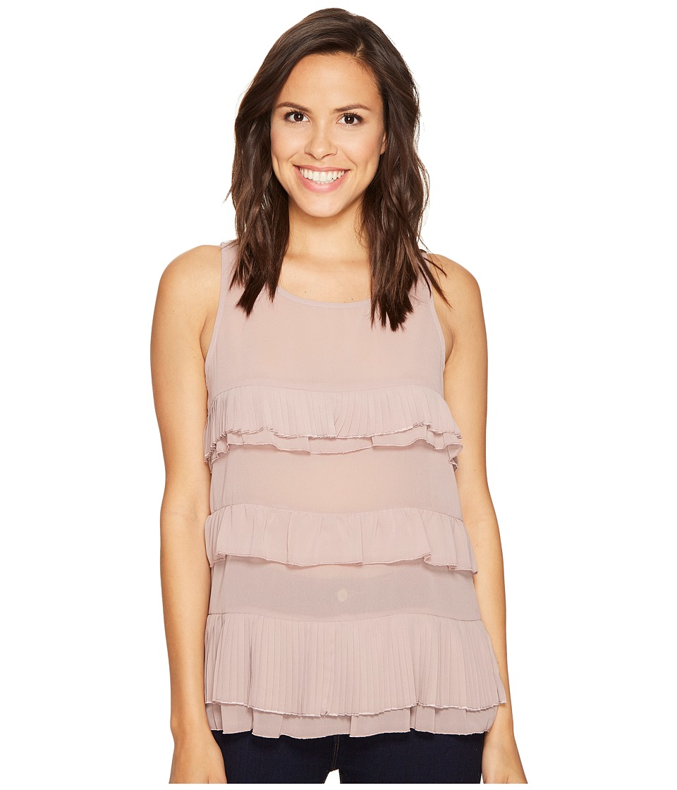 ROMEO & JULIET COUTURE - Ruffle Tier Top (Mauve) Women's Clothing