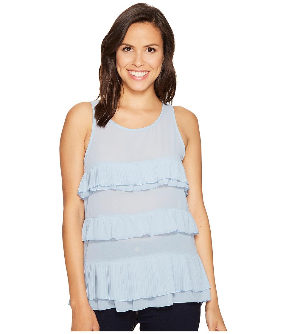 ROMEO & JULIET COUTURE - Ruffle Tier Top (Powder Blue) Women's Clothing