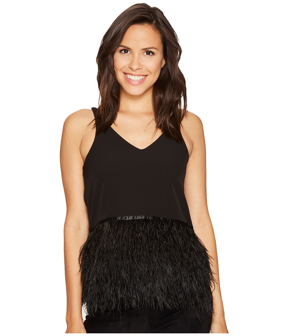 ROMEO & JULIET COUTURE - Knit Feather Detail Top (Black) Women's Clothing