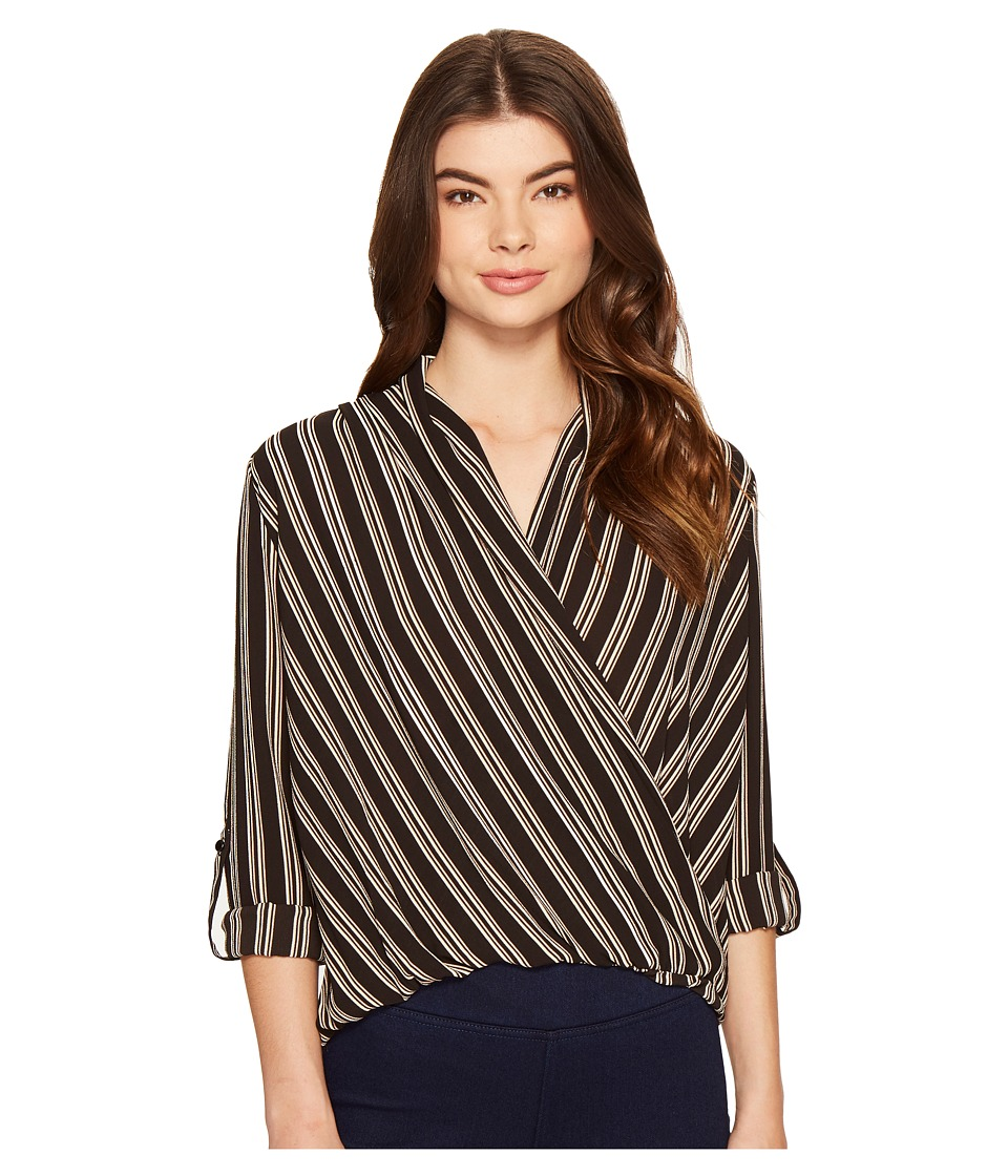 ROMEO & JULIET COUTURE - Cross Over Stripe Top (Blush Multi) Women's Clothing
