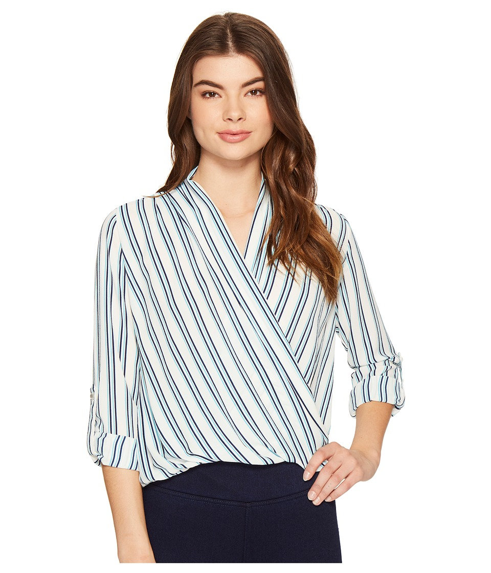 ROMEO & JULIET COUTURE - Cross Over Stripe Top (Navy Multi) Women's Clothing