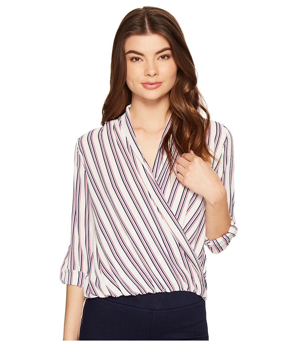 ROMEO & JULIET COUTURE - Cross Over Stripe Top (Red Multi) Women's Clothing