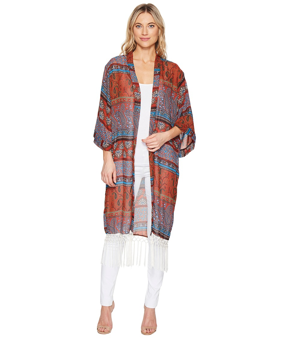 ROMEO & JULIET COUTURE - Sheer Kimono Top with Fringe (Rust) Women's Clothing