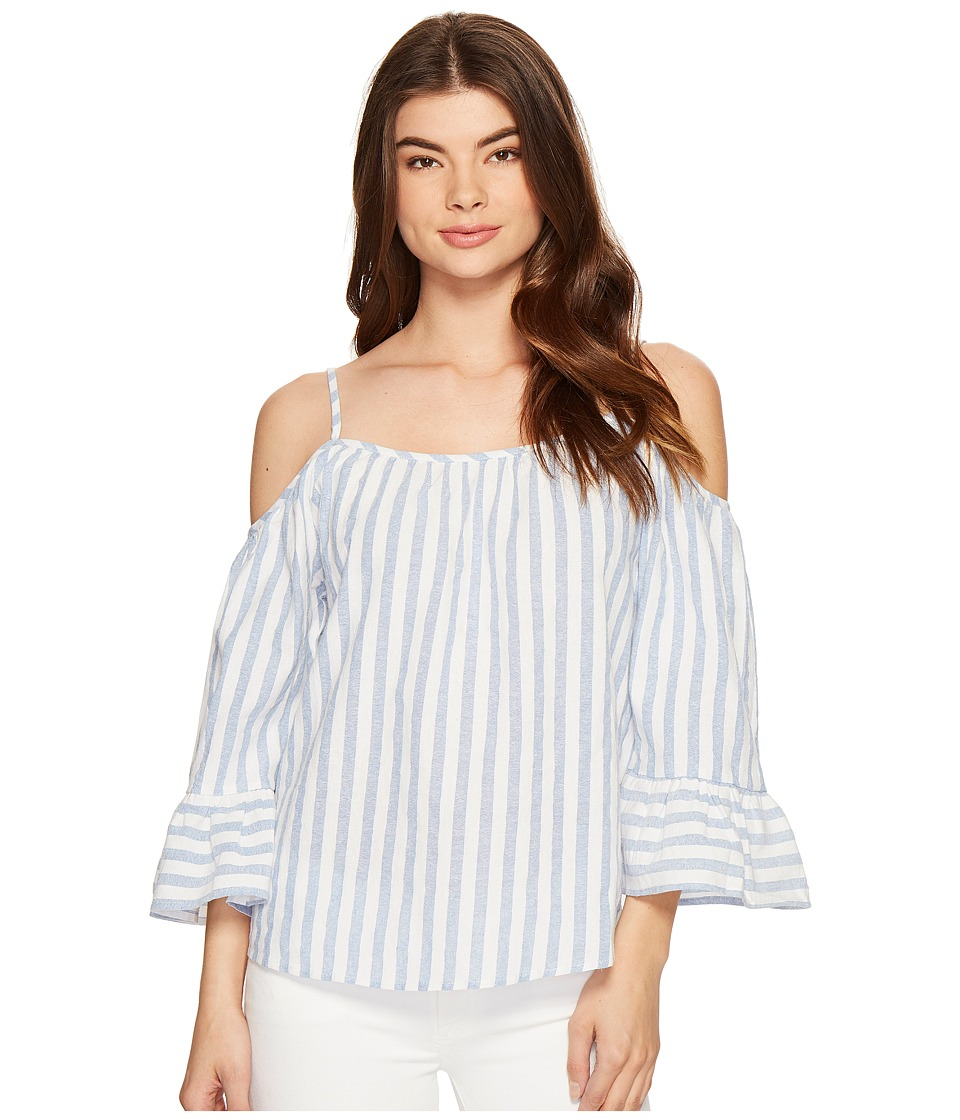 ROMEO & JULIET COUTURE - Cold Shoulder Stripe Top (Blue/White) Women's Clothing