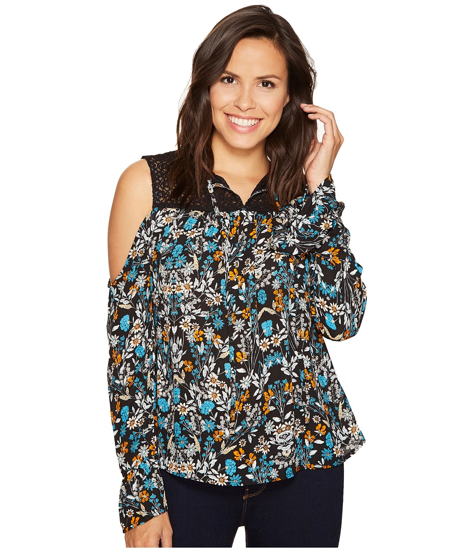 ROMEO & JULIET COUTURE - Trim Front Tie Top (Teal) Women's Clothing