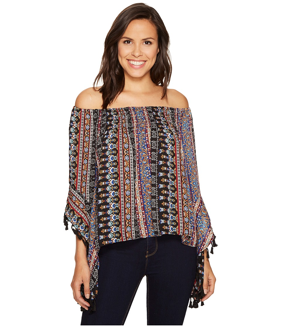 ROMEO & JULIET COUTURE - Printed Top with Tassels (Black) Women's Clothing