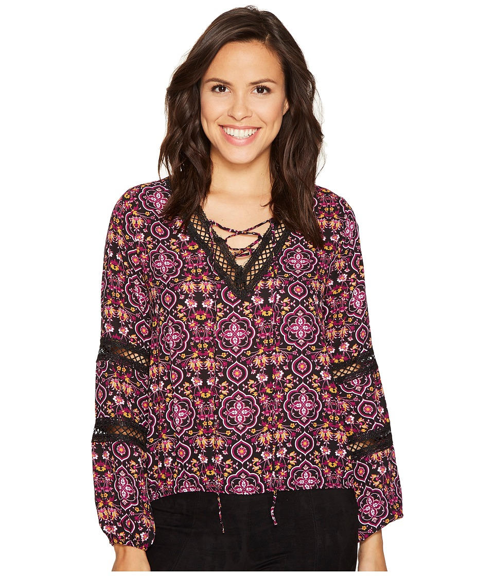 ROMEO & JULIET COUTURE - Trim Detailed Printed Top (Berry) Women's Clothing