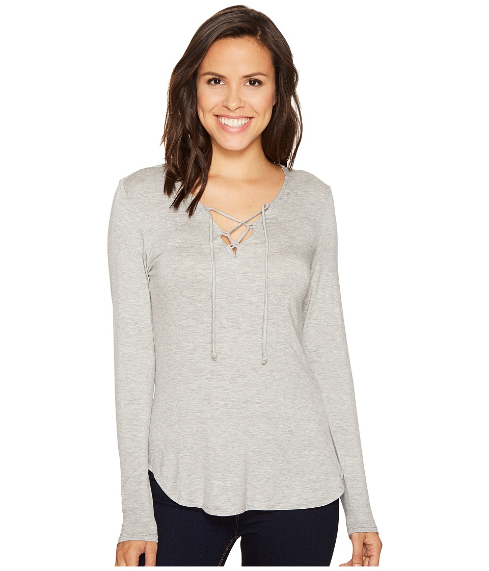 ROMEO & JULIET COUTURE - Lace-Up Front Top (Heather Grey) Women's Clothing