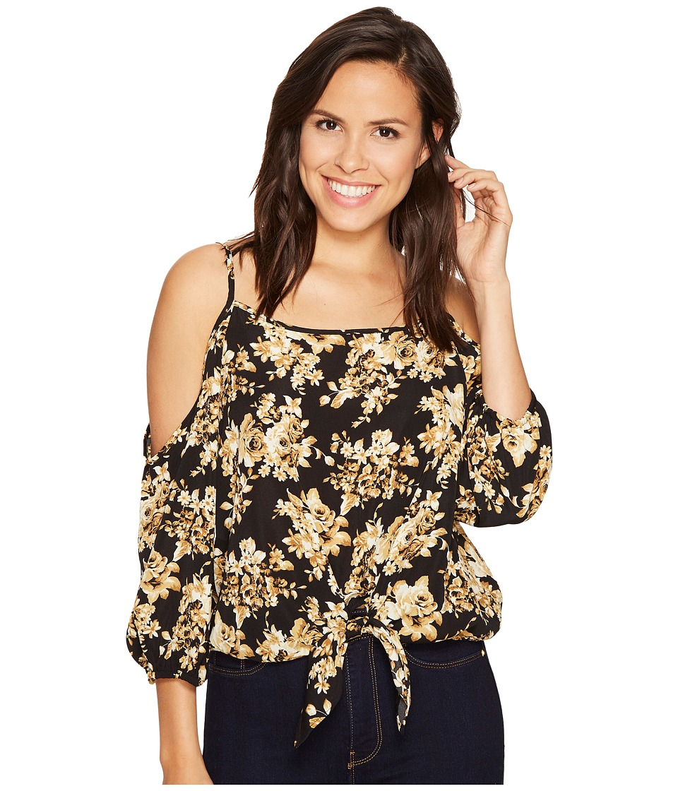 ROMEO & JULIET COUTURE - Floral Printed Cold Shoulder Top (Black) Women's Clothing