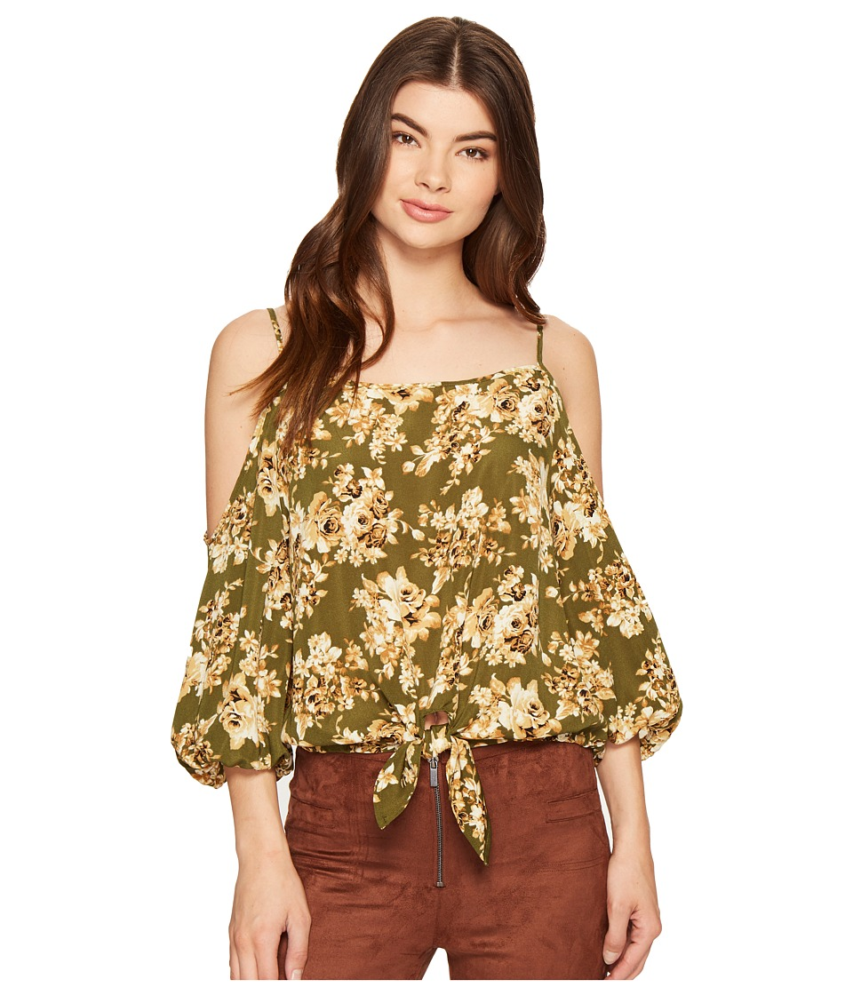 ROMEO & JULIET COUTURE - Floral Printed Cold Shoulder Top (Olive) Women's Clothing