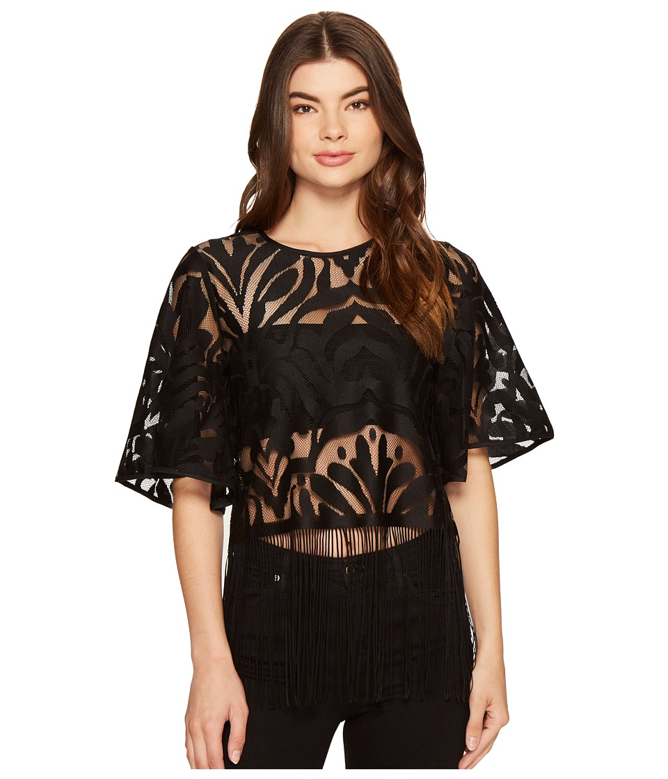 ROMEO & JULIET COUTURE - Patterned Lace 3/4 Bell Sleeve Top (Black) Women's Clothing