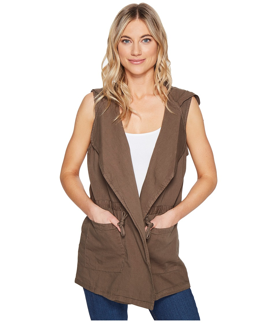 ROMEO & JULIET COUTURE - Sleeveless Hood Jacket (Olive) Women's Coat