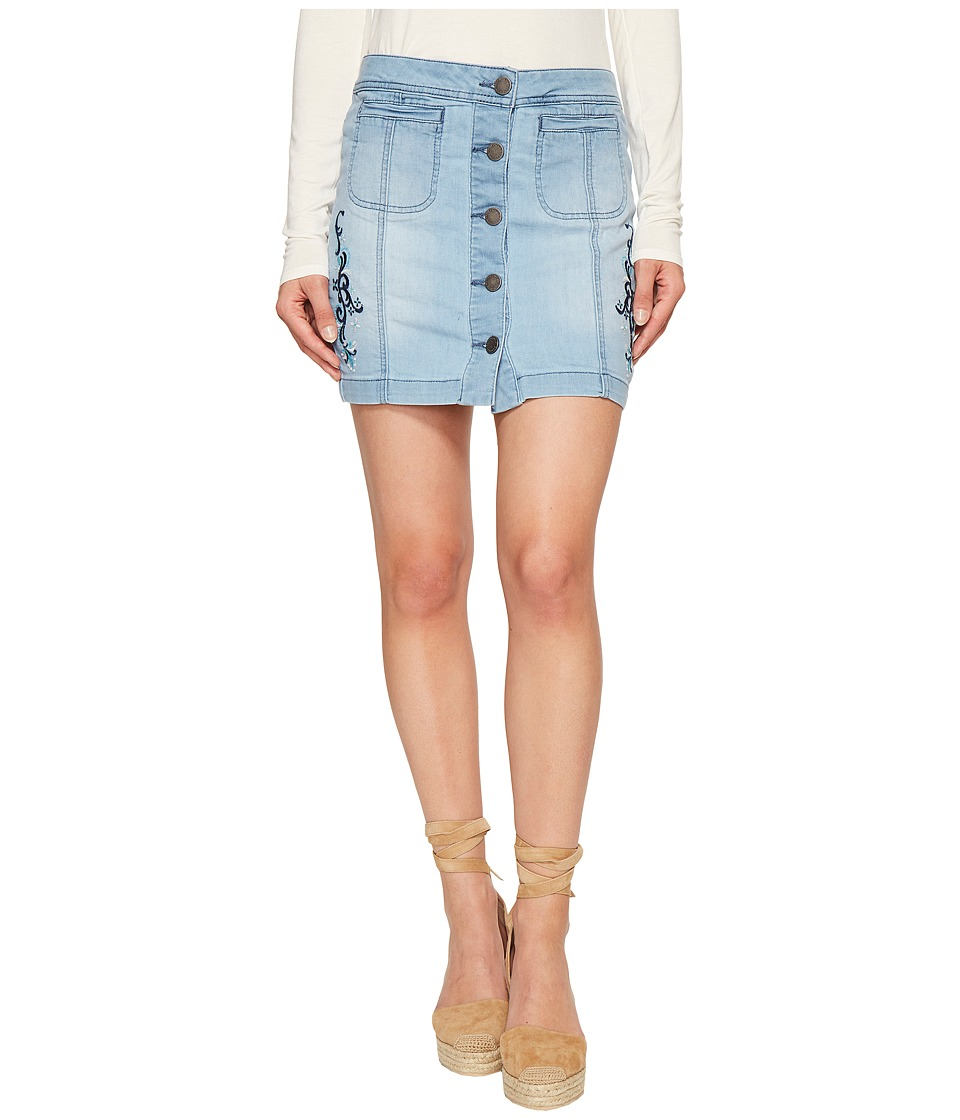 ROMEO & JULIET COUTURE - Embroidered Skirt (Light Denim) Women's Skirt