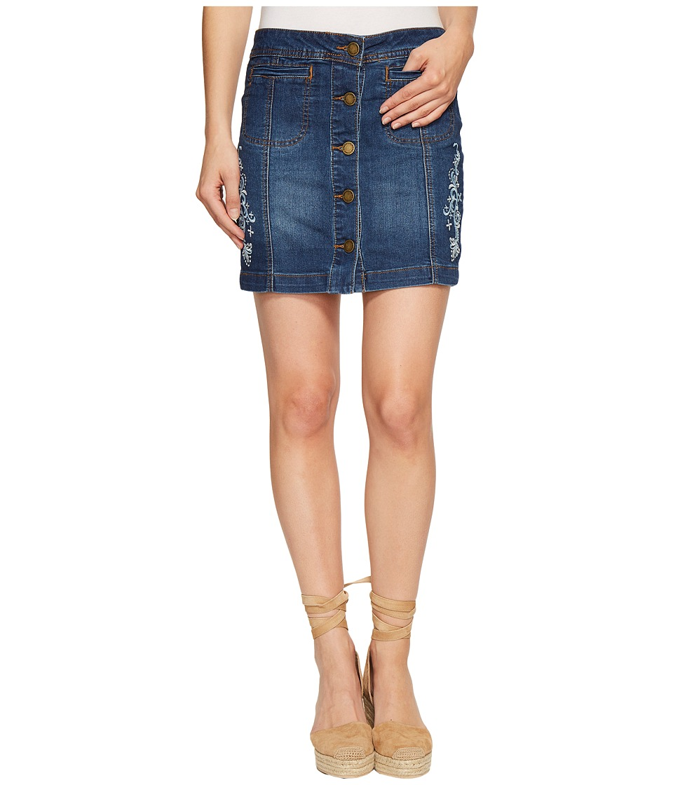 ROMEO & JULIET COUTURE - Embroidered Skirt (Dark Denim) Women's Skirt
