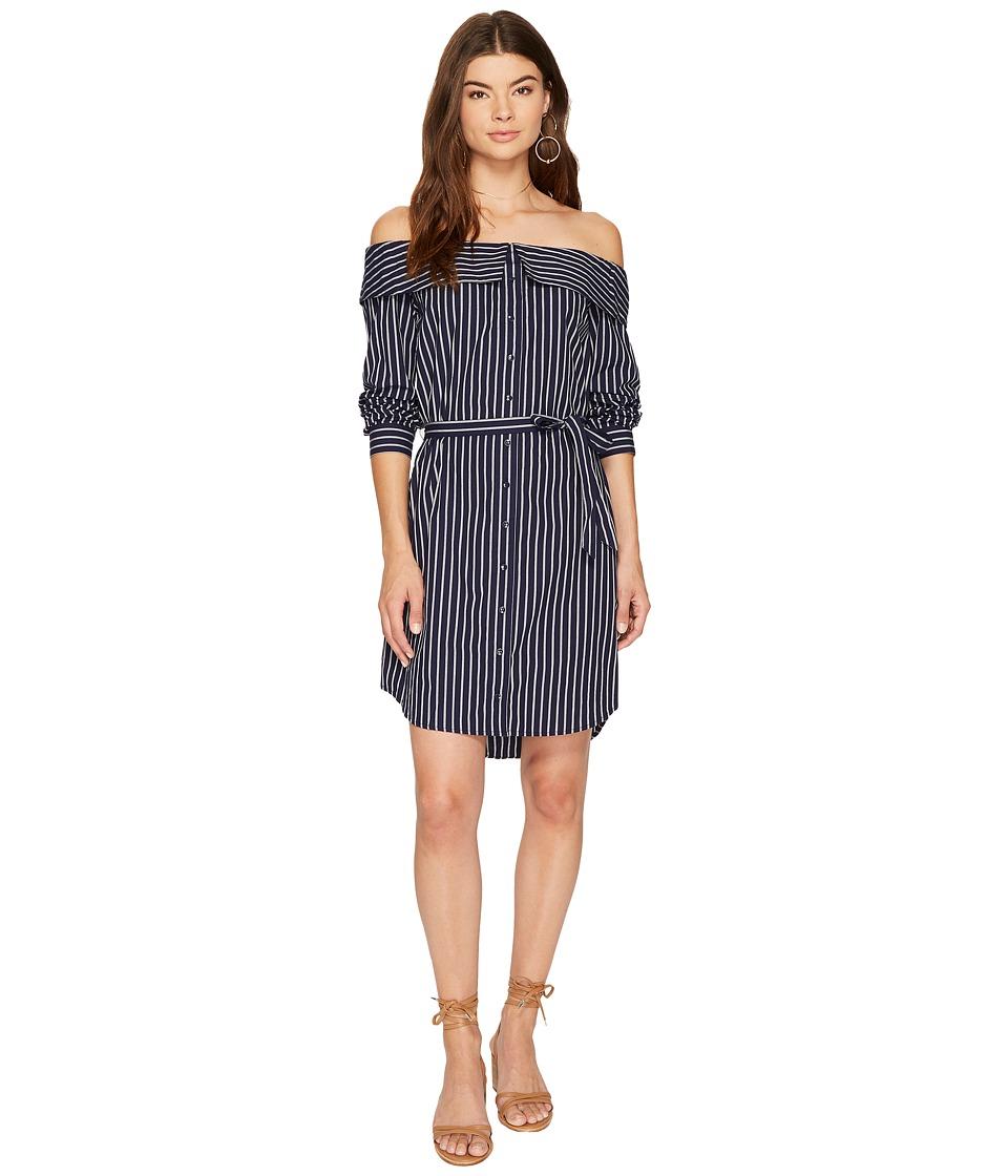 kensie - Oxford Stripe Off Shoulder Shirting Dress KS8K9673 (Classic Navy Combo) Women's Dress