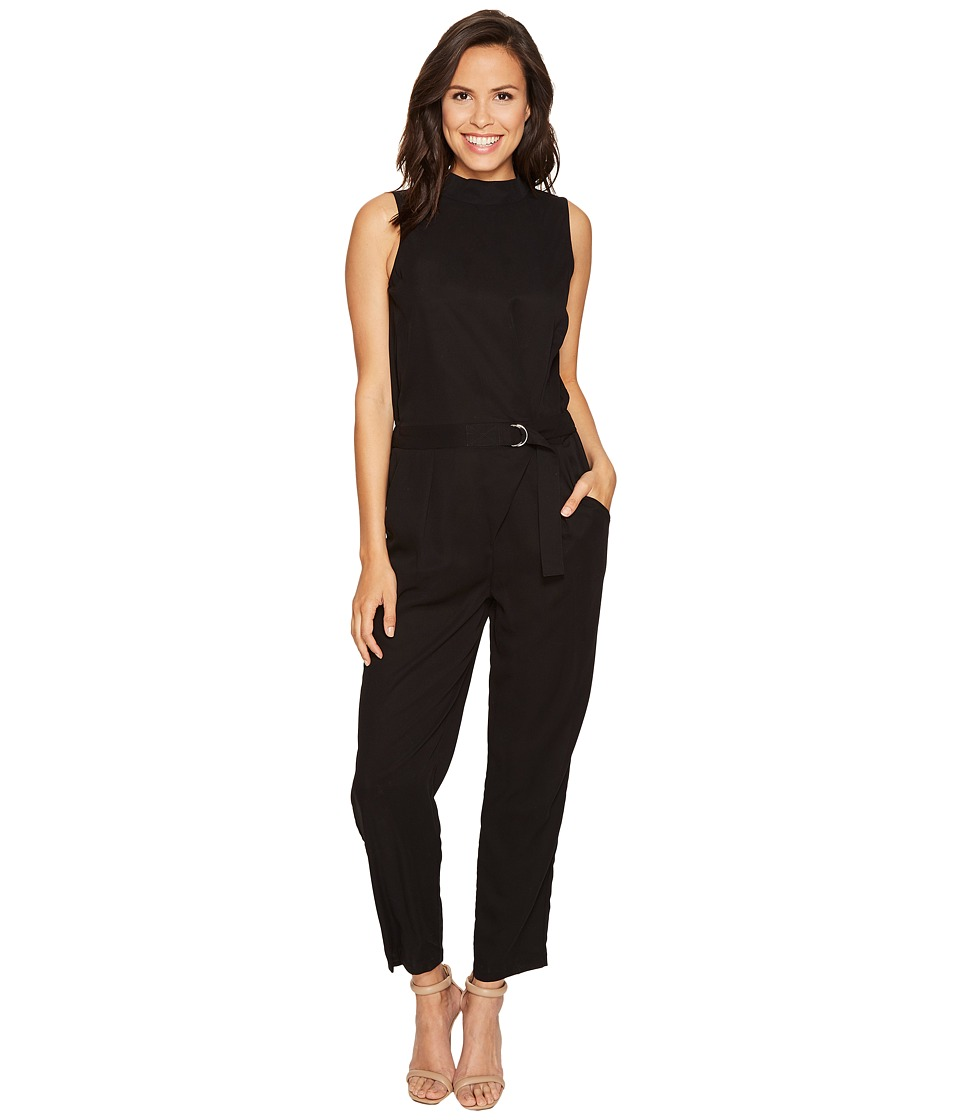 ROMEO & JULIET COUTURE - Solid Romper with Slit Back (Black) Women's Jumpsuit & Rompers One Piece