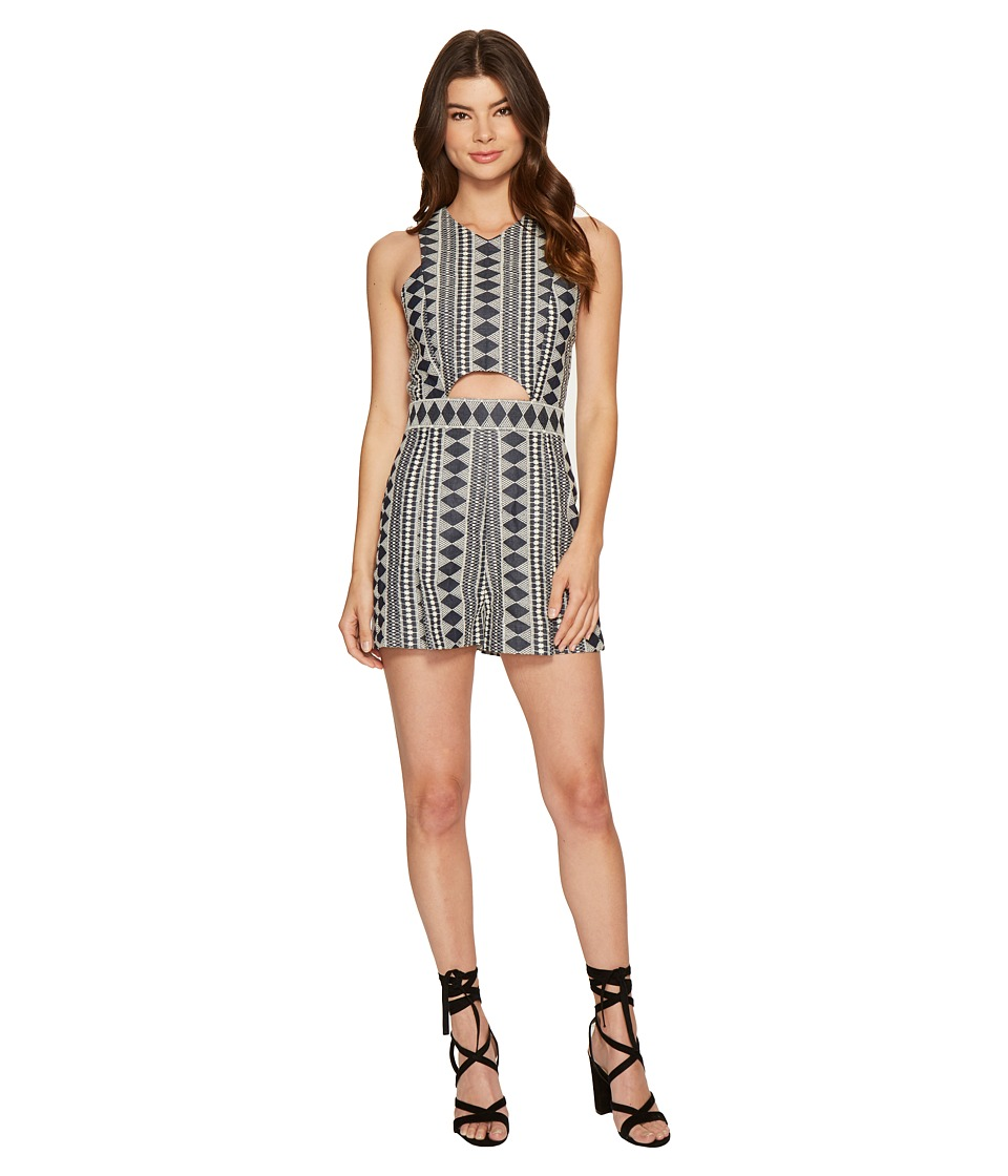 ROMEO & JULIET COUTURE - Cut Out Denim Romper (Blue Multi) Women's Jumpsuit & Rompers One Piece