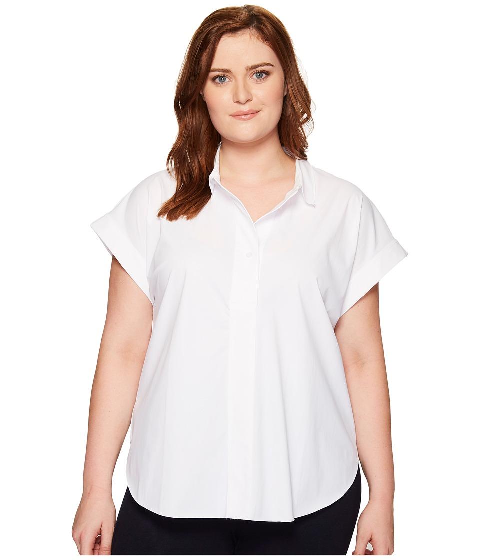 Lysse - Plus Size Rosa Shirt (White) Women's Short Sleeve Button Up