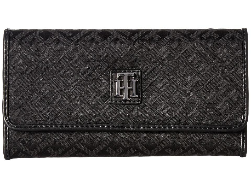 Tommy Hilfiger - Serif Signature Jacquard Continental Wallet (Black Tonal) Wallet Handbags