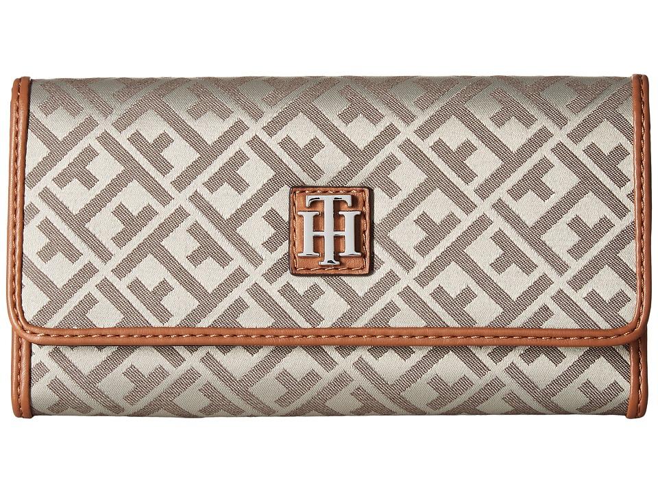 Tommy Hilfiger - Serif Signature Jacquard Continental Wallet (Tan/Dark Chocolate) Wallet Handbags