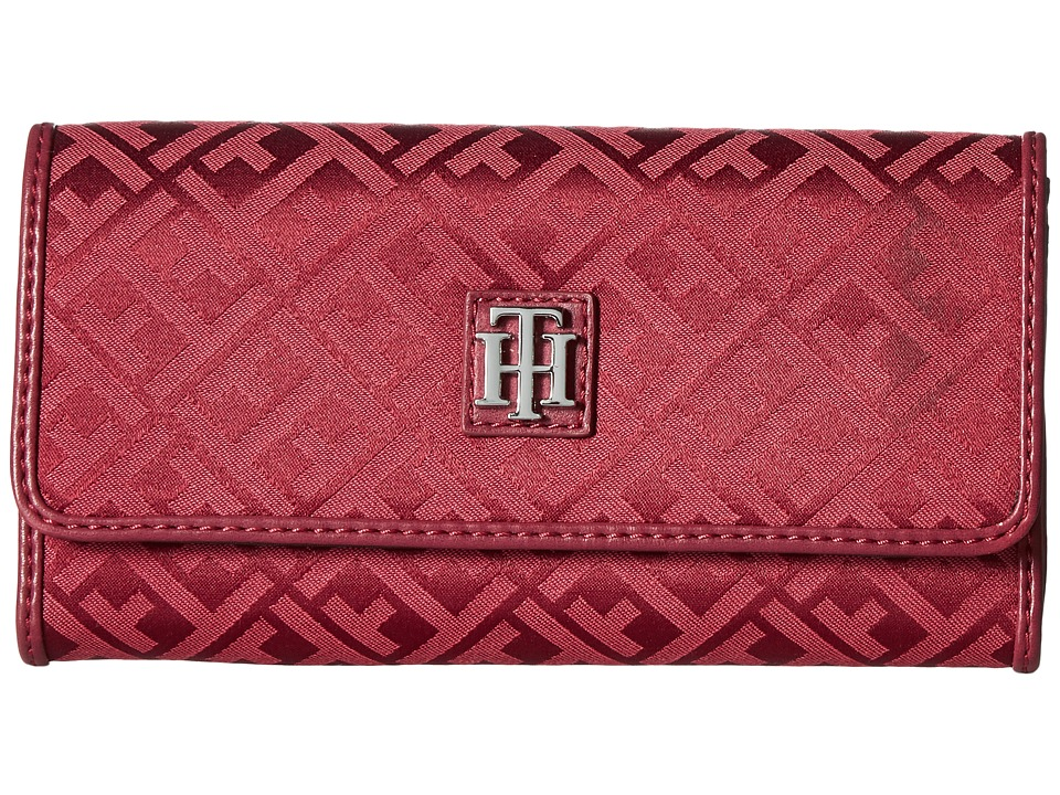Tommy Hilfiger - Serif Signature Jacquard Continental Wallet (Merlot Tonal) Wallet Handbags