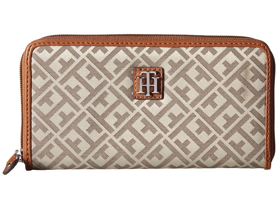 Tommy Hilfiger - Serif Signature Jacquard Zip-Around Wallet (Tan/Dark Chocolate) Wallet Handbags