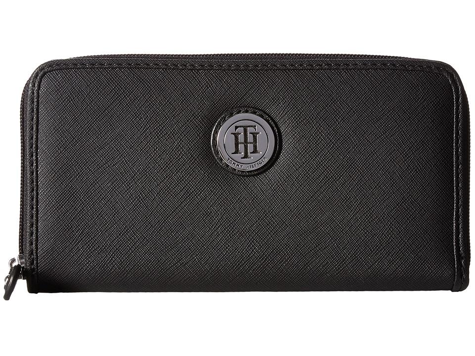 Tommy Hilfiger - Medallion Saffiano Zip-Around Wallet (Black) Wallet Handbags