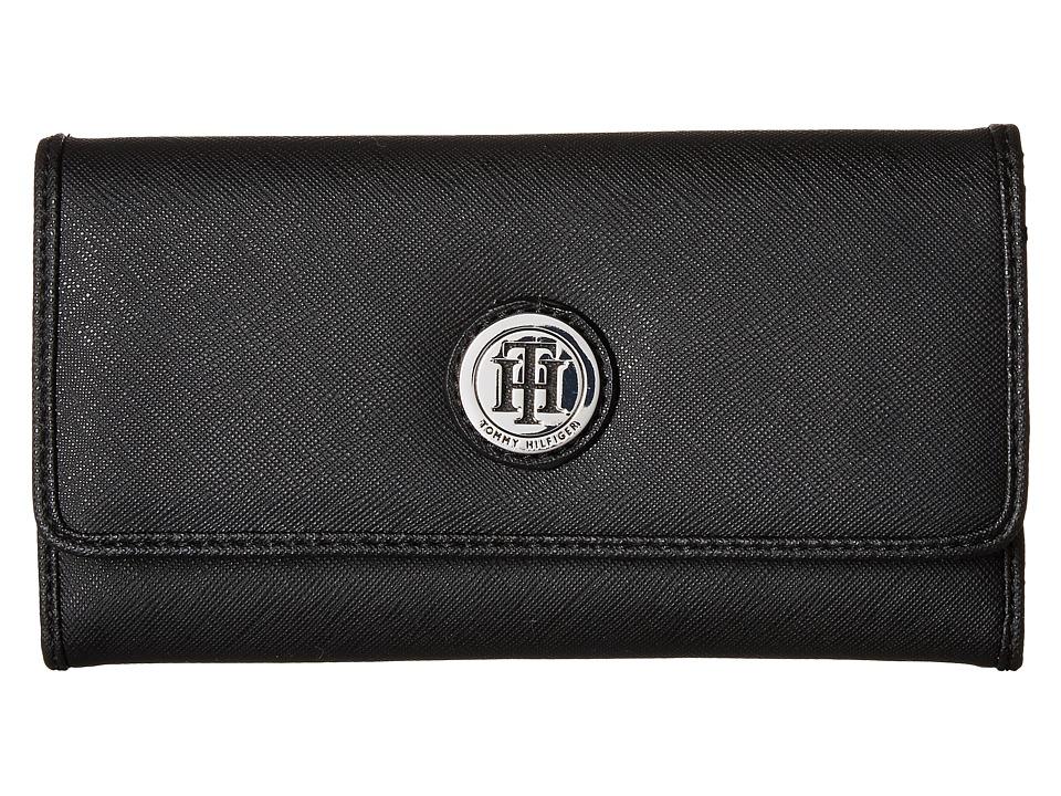 Tommy Hilfiger - Medallion Saffiano Continental Wallet (Black) Wallet Handbags