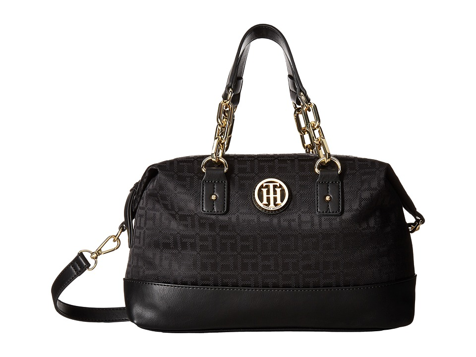 Tommy Hilfiger - Almira Small Convertible Satchel (Black Tonal) Satchel Handbags