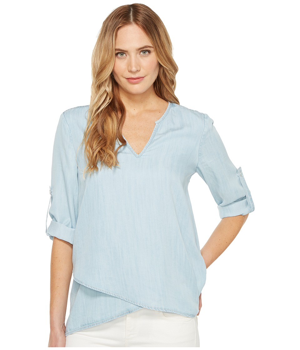 Karen Kane - Asymmetric Hem Wrap Top (Chambray) Women's Blouse