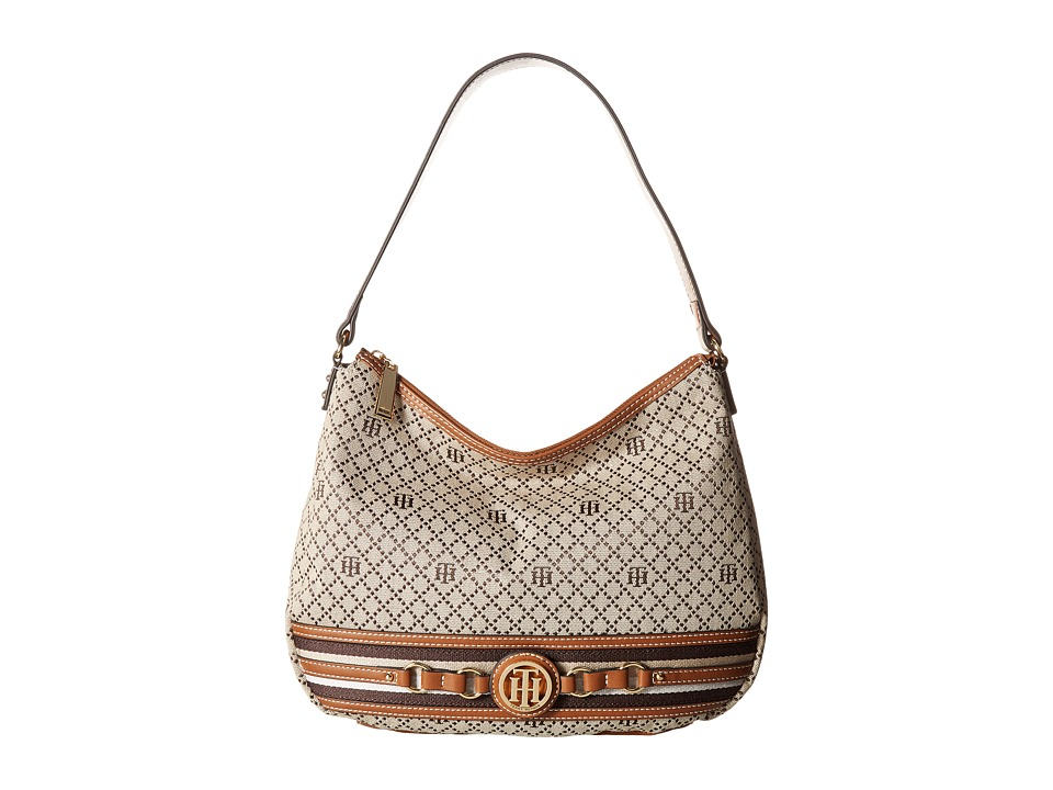 Tommy Hilfiger - Payton Hobo (Tan/Dark Chocolate) Hobo Handbags