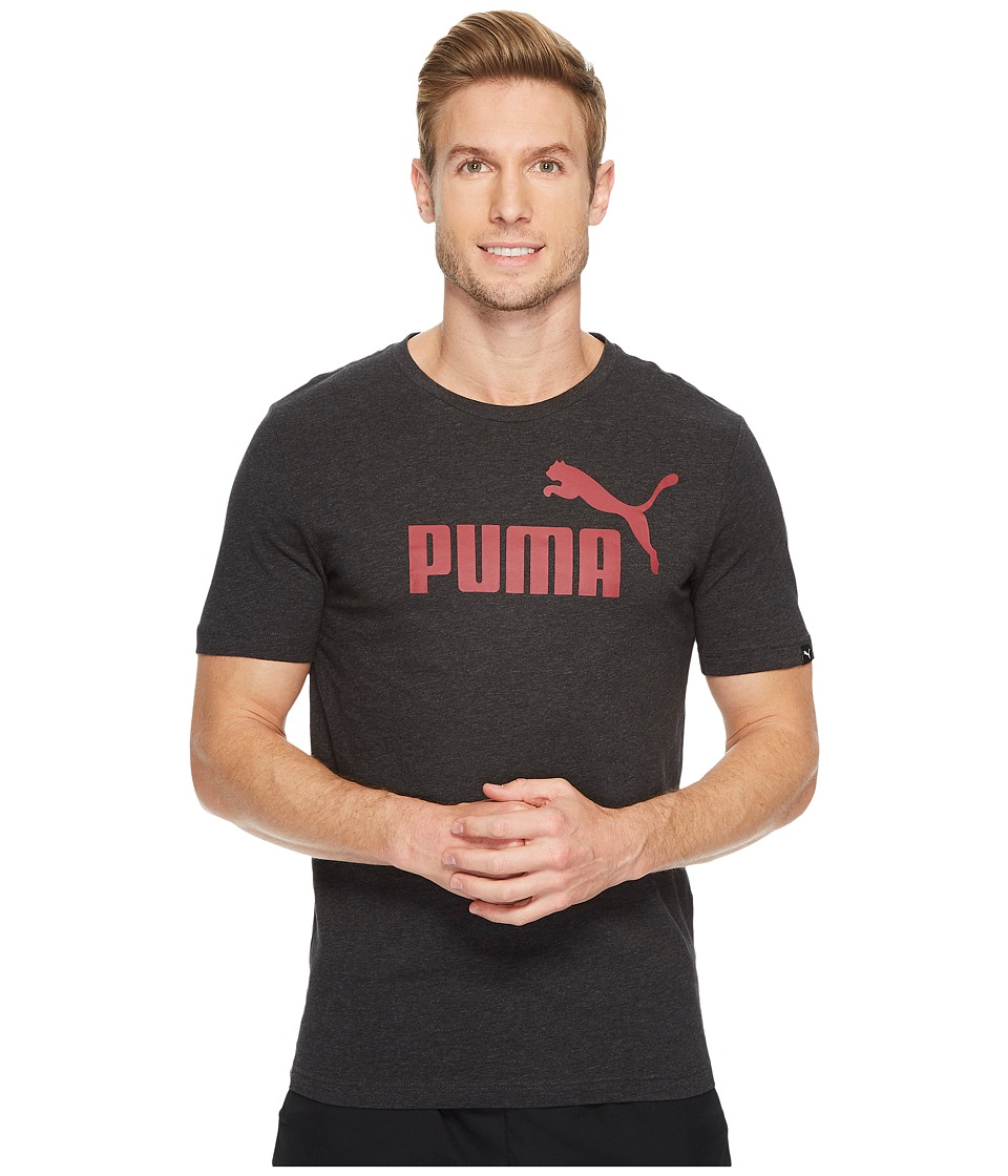 PUMA - Essential No. 1 Tee (Dark Grey Heather/Tibetan Red) Men's T Shirt