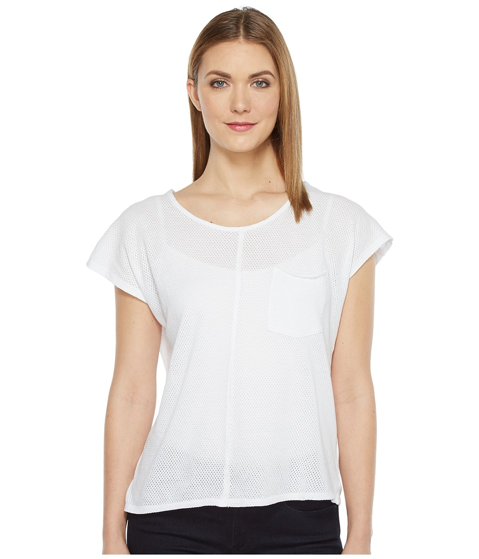 Mod-o-doc - Cotton Mesh Cap Sleeve Pocket Tee (White) Women's T Shirt