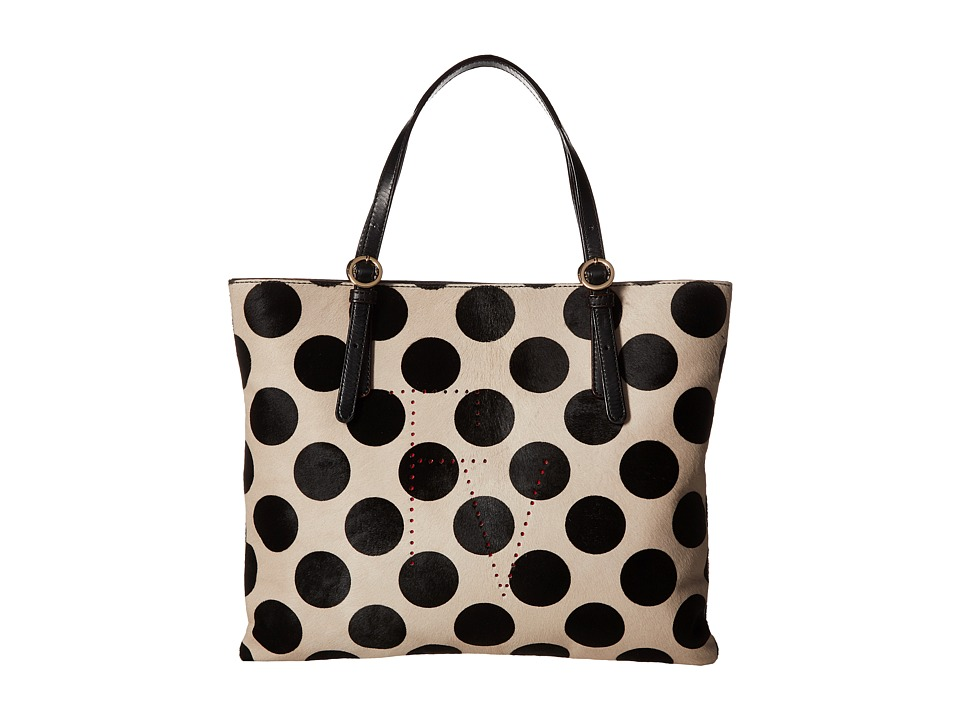 Frances Valentine - FV Perforated Tote (Dot/White/Black) Handbags