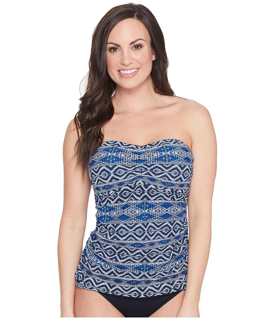 La Blanca - Designer Jeans Bandeau Tankini Top D-DD-E Cup (Indigo) Women's Swimwear