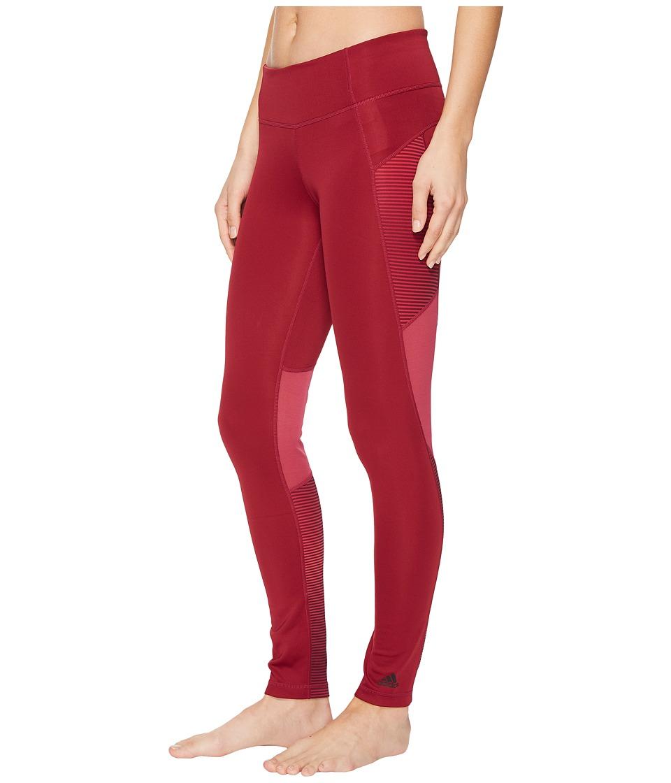 adidas D2M Shine Stripe Long Tights (Mystery Ruby/Print) Women