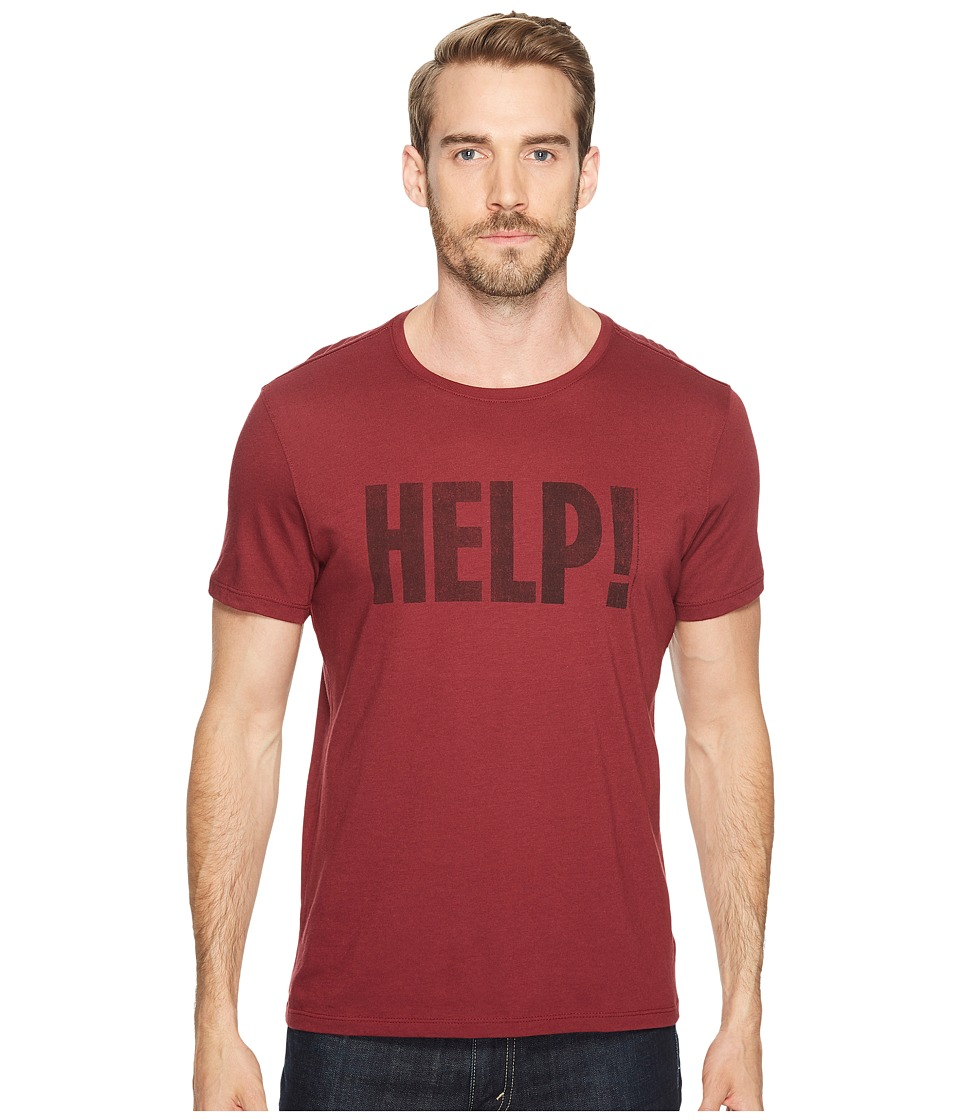 John Varvatos Star U.S.A. - Help! Beatles Graphic T-Shirt K3179T2B (Oxblood) Men's Clothing