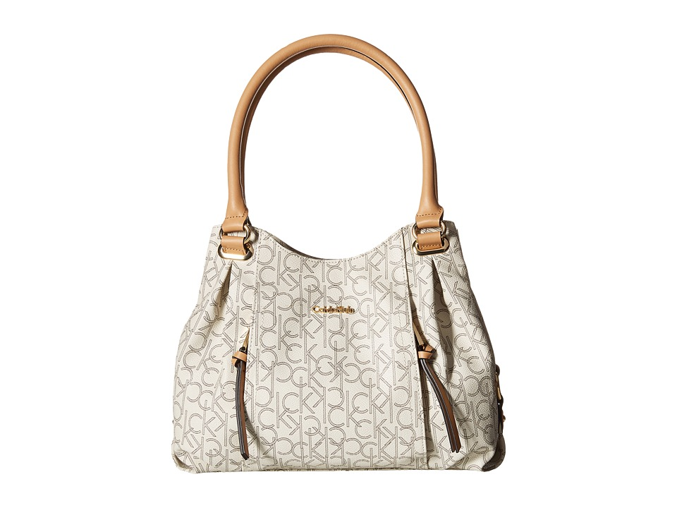Calvin Klein - Monogram Shopper (Almond/Khaki/Camel) Handbags
