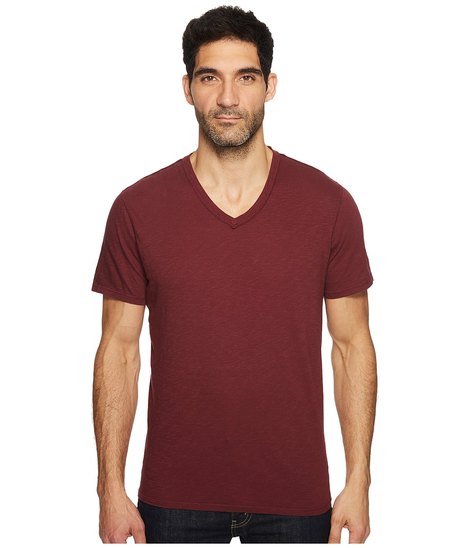 7 For All Mankind - Short Sleeve Raw V-Neck (Dark Burgundy) Men's Clothing